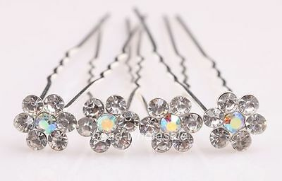 20pcs Shiny Crystal Paved Flower Hairpin Women's Hair Accessories Hair Pin