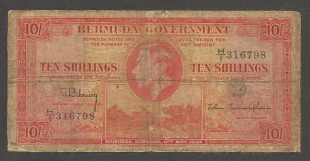 Bermuda 10 Shillings 12.5.1937; G; P-10; L-B110b; King George VI; Fort; SCARCE