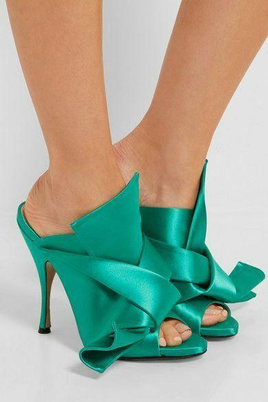 marche online vendita a basso costo Donna tacco alto raso raso raso fiocco Muli Punta Aperta Festa Moda Sandali Pantofola Scarpe  articoli promozionali