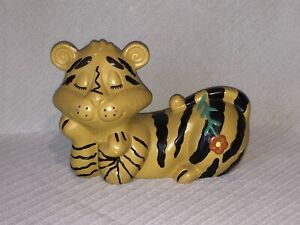 Vintage-Holland-Mold-Tiger-BANK-1971-Ceramic-Collectible-Bank-9-in-x-6-1-2-in