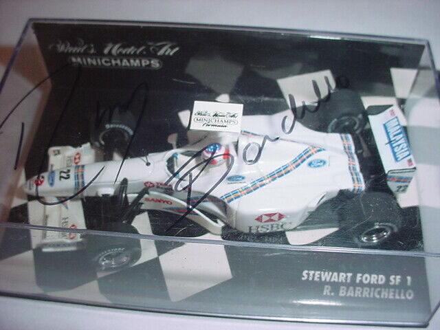 SIGNED 1/43 STEWART FORD SF1 1997 RUBENS BARRICHELLO  Autographed on Top
