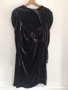 Carven Ladies Brown Velvet Dress Size 42 Size 14 Uk Ebay