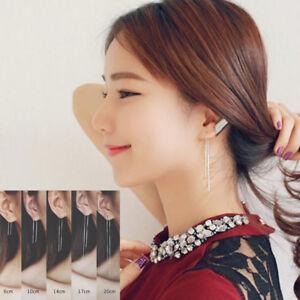 Hot-Women-925-Sterling-Silver-Threader-Long-Drop-Dangle-Chain-Link-Stud-Earrings