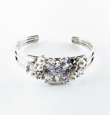 USA Quality Pearl Bracelet use Swarovski Crystal Wedding Bangle Cuff Silver A02