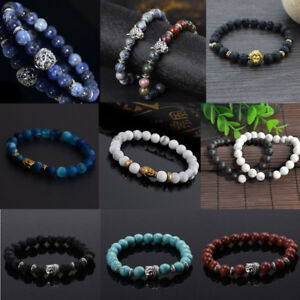 Handmade-Men-Women-Lava-Rock-Bracelet-Natural-Gemstone-Beads-Buddha-Lucky-Beaded
