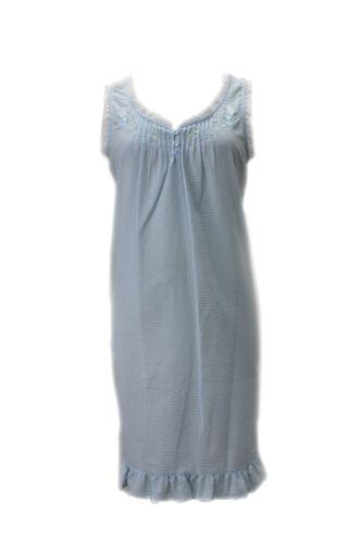 224615 New Miss Elaine Blue Peri Short Seersucker Sleeveless Gown Nightgown