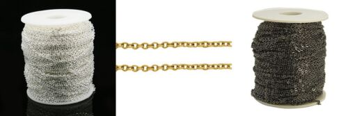 Black BOX117 2 Mtrs Plated Iron Oval Cross Chain 3mm x 2mm Silver Golden