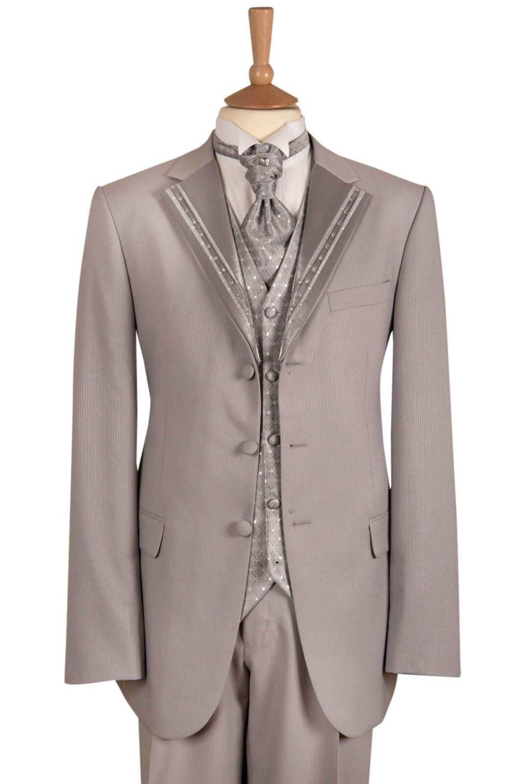 Uomo STILISTA ITALIANO grigio argento 4 pezzi Vestito Matrimonio da Matrimonio Vestito 34 36 54 c0ac06