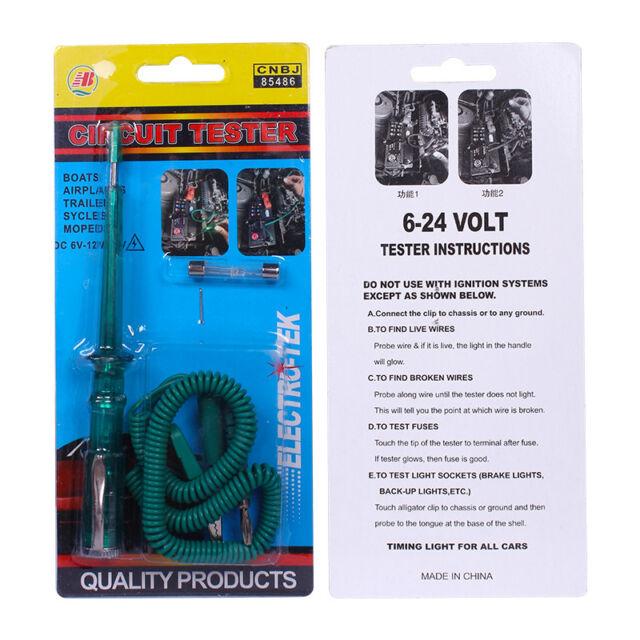 Auto Circuit Tester Test Pencil Light Led Probe Car Motorcycle DC 6V//12V//24V New