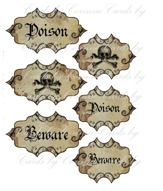 halloween apothecary 6 bottle jar labels beware poison skeleton