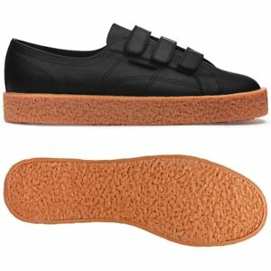 SUPERGA 2750 STRAPPO MEGA DANILO PAURA BLACK PELLE NERO SCARPE SHOES ZAPATOS
