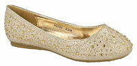 Spot On Girls Gold Dimante Slip On Dolly/party Shoes-h2282 Cc