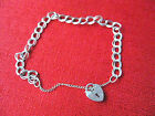 BEAUTIFUL VINTAGE STERLING SILVER HEART LOCKET CHAIN BRACELET B59