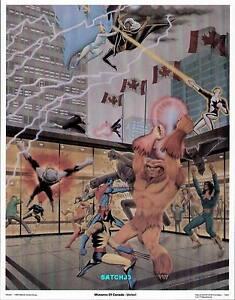 X-MEN vs ALPHA FLIGHT ORIGINAL 1983 ART PRINT WOLVERINE COLOSSUS STORM MUTANTS