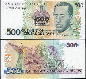 Brésil 500 Cruzeiros. NEUF Surcharge ND (1990) Billet de banque Cat# P.226b