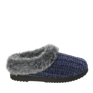 Dearfoams-50928-Ladies-Womens-Warm-Fleece-Lined-Knitted-Mule-Slippers-Peacoat