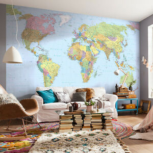 XXL4 038 Komar Scenics 2 World Map Multicoloured Komar Wall Mural