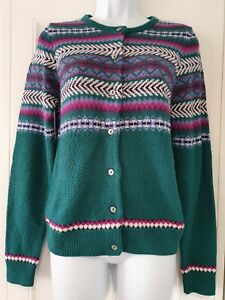 Womens-Country-Rose-Green-Fairisle-50s-Vintage-Landgirl-Style-Knitted-CardiganXL