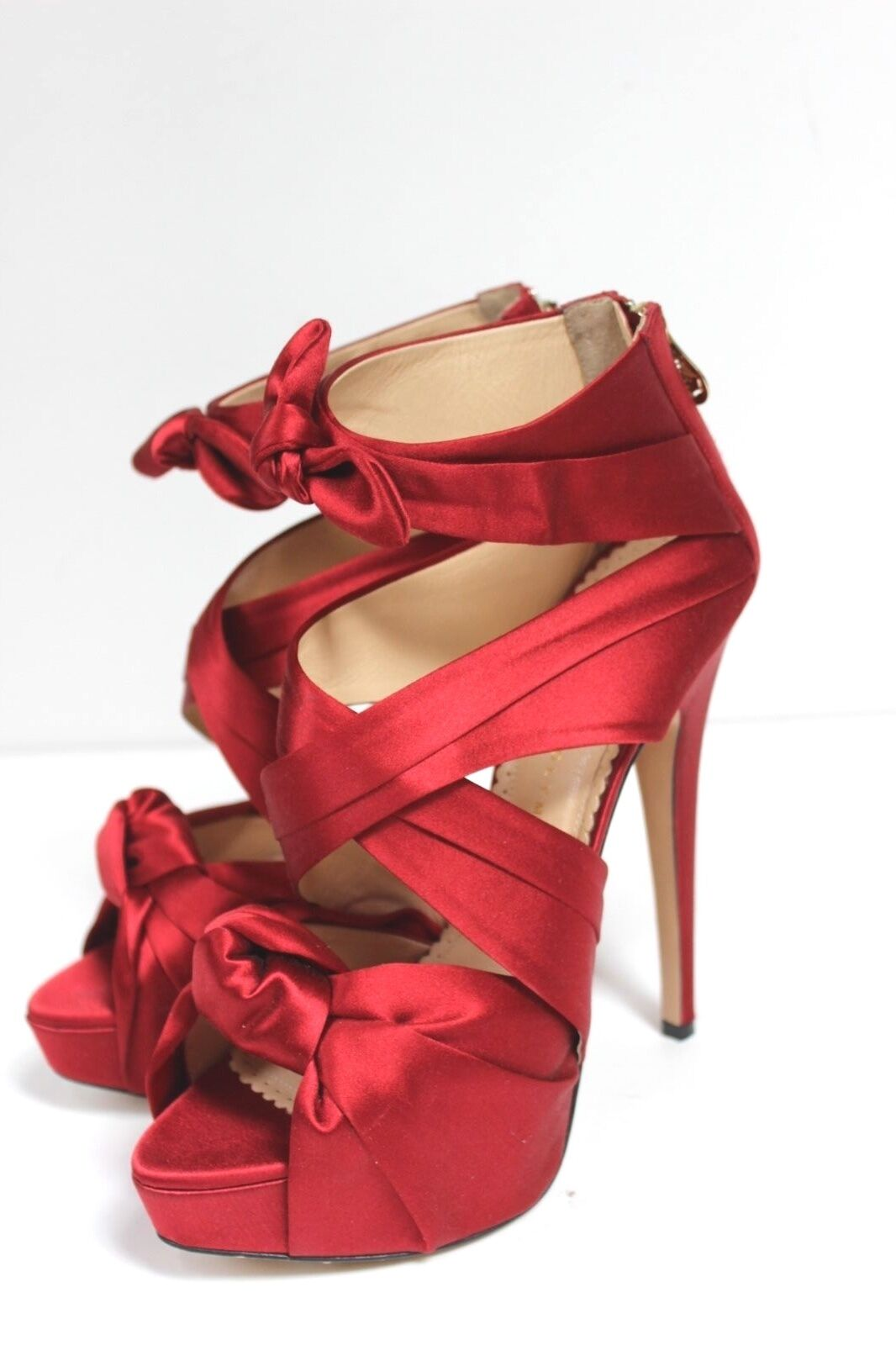 CHARLOTTE OLYMPIA Sandals  'Andrea' Red Satin Sandals OLYMPIA 39 UK 6 535bed