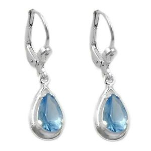 Silber-Ohrringe-Ohrhaenger-Brisur-Tropfenform-mit-Blautopas-echt-Tropfen