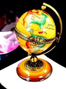 RARE ROCHARD LIMOGES FRANCE WORLD GLOBE FIGURAL PORCELAIN KEEPSAKE TRINKET BOX