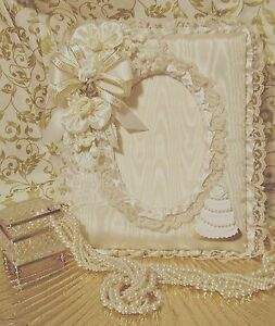 Handmade Ivory 5x7 Moire Wedding Cake Picture Frame