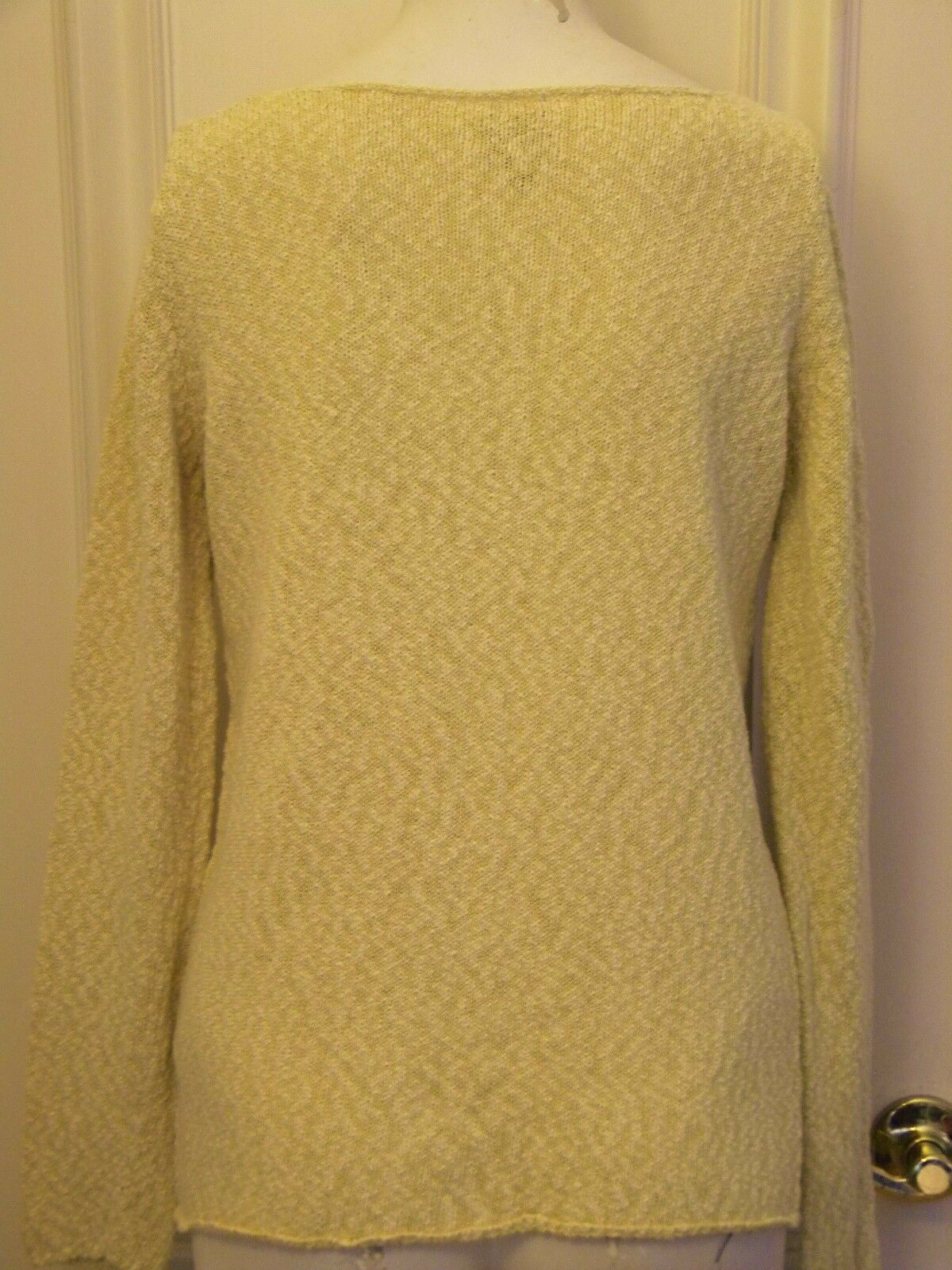 Eileen Fisher S pale gold cotton blend sweater rolled edges edges edges long sleeves loose 74818e