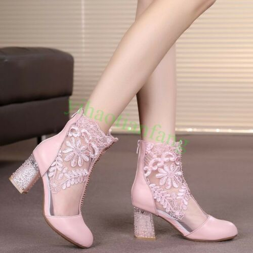 Fashion Womens Spring Zip Club Heel Hot Casual Mesh Lace 2017 Stivaletti Chunky RaSqPq