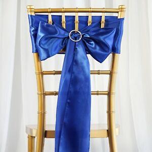 10 Royal Blue Satin Chair Sashes Ties Bows Wedding Party Reception Decorations Ebay