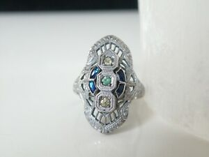 Victorian-Antique-Sterling-Silver-925-Filigree-Simulated-Sapphire-Ring-Size-8