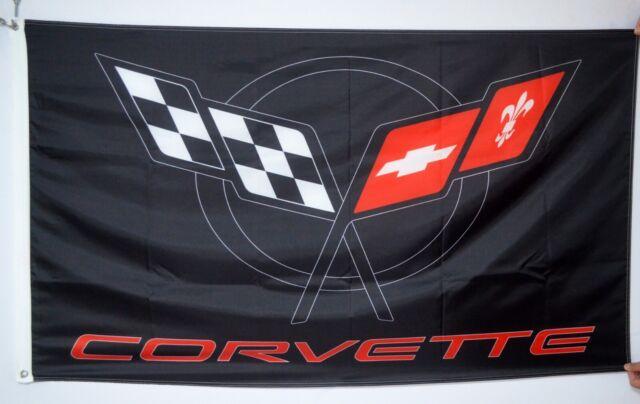 CHEVROLET CORVETTE FLAG BLACK 5x2.5 ft - BRAND NEW SIZE 150x75cm