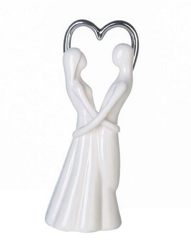 46337 Figur Lovely aus Porzellan weiß glasiert mit silberfarbigem Herz Höhe 25cm