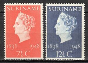 """Suriname - 1948 Silver Jubilee Queen Wilhelmina Mi. 308-09 MNH - Enschede, Nederland - Click the button below to view more Suriname lots from our extensive offerings. After clicking select """"Suriname"""" in the blue side-bar on the left. Combine up to 10 lots for single postage rate and keep in mind: orders above € 25 FR - Enschede, Nederland"""