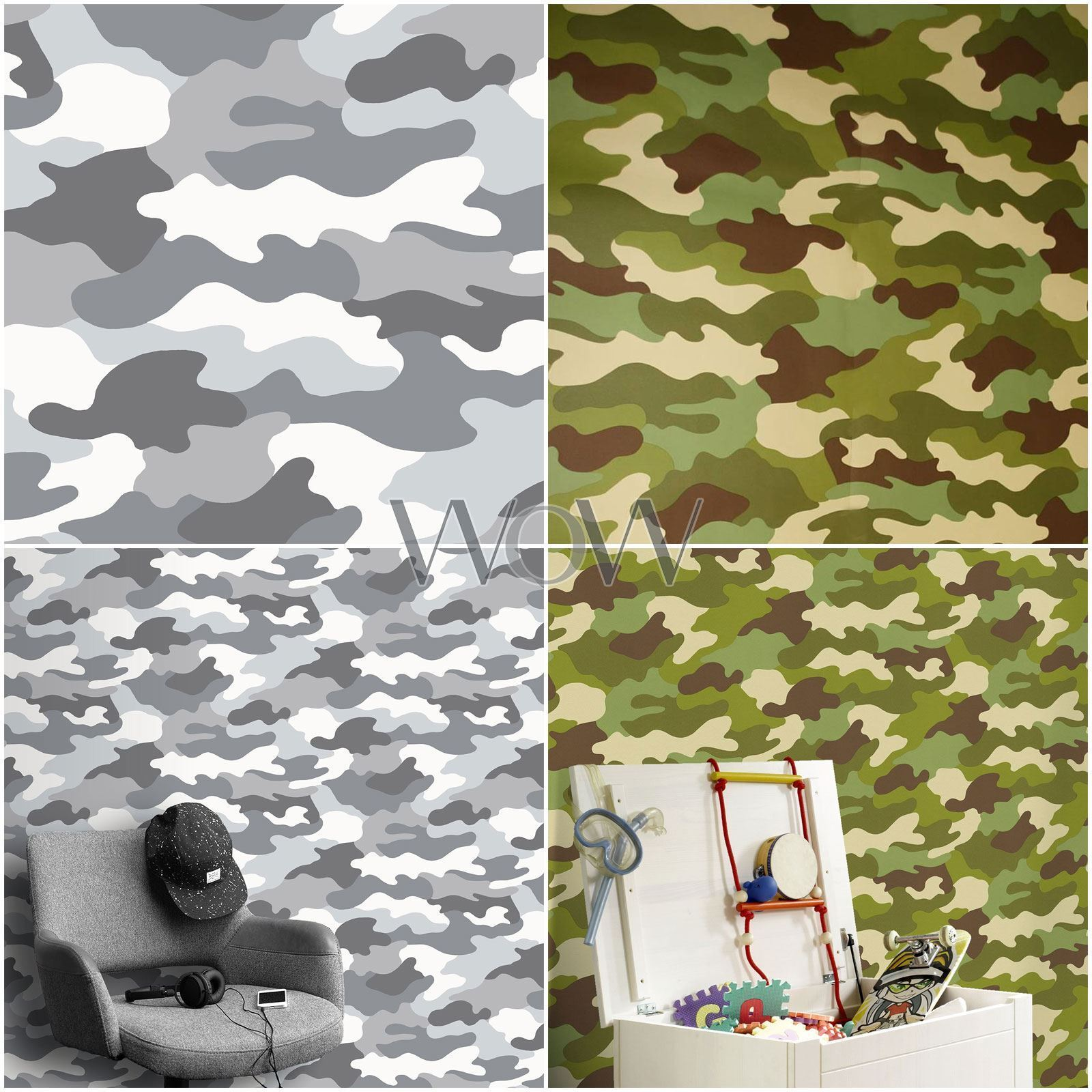 Camouflage Papier Peint 10m Vert Kaki Gris Soldat Noir Armee