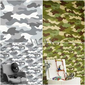 Details About Camouflage Wallpaper 10m Khaki Green Grey Black Army Soldier Bedroom