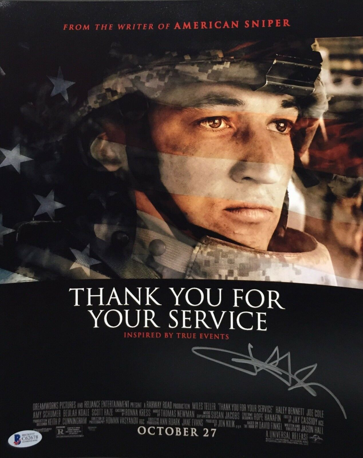 Miles Teller Signed 'Thank You For Your Service' 11x14 Photo BAS Beckett C62678