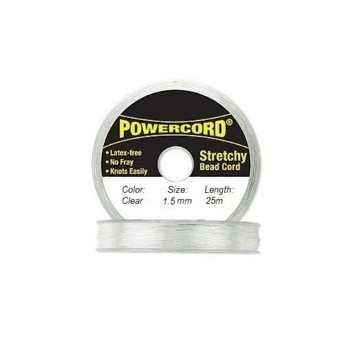 Powercord Elastic Cord Clear 1.5mm diameter 27.3 yards 25 meters