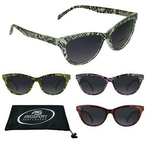 44656616eb Cat Eye Tinted BIFOCAL Glasses Sun Readers Womens Snake Skin Pattern ...