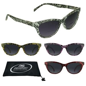 3f1d62068a69 Cat Eye Tinted BIFOCAL Glasses Sun Readers Womens Snake Skin Pattern ...