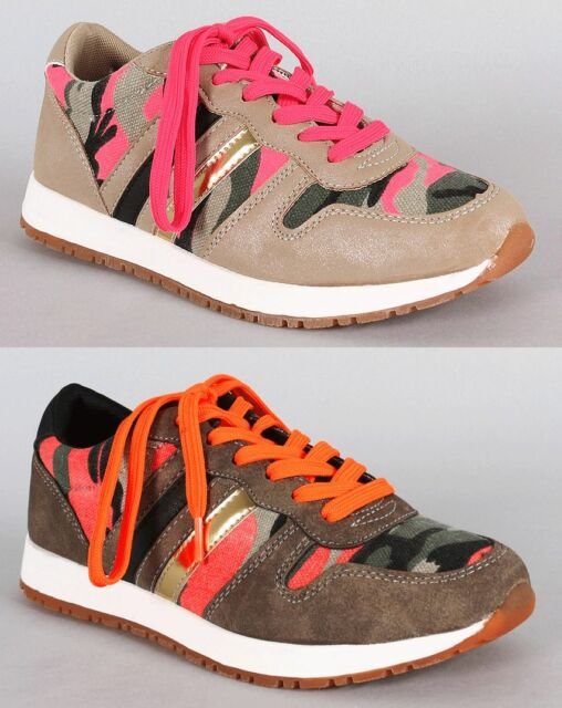 Womens Camouflage Sneakers Shoes Neon im-Suede Fashion Lace Up Military Sport