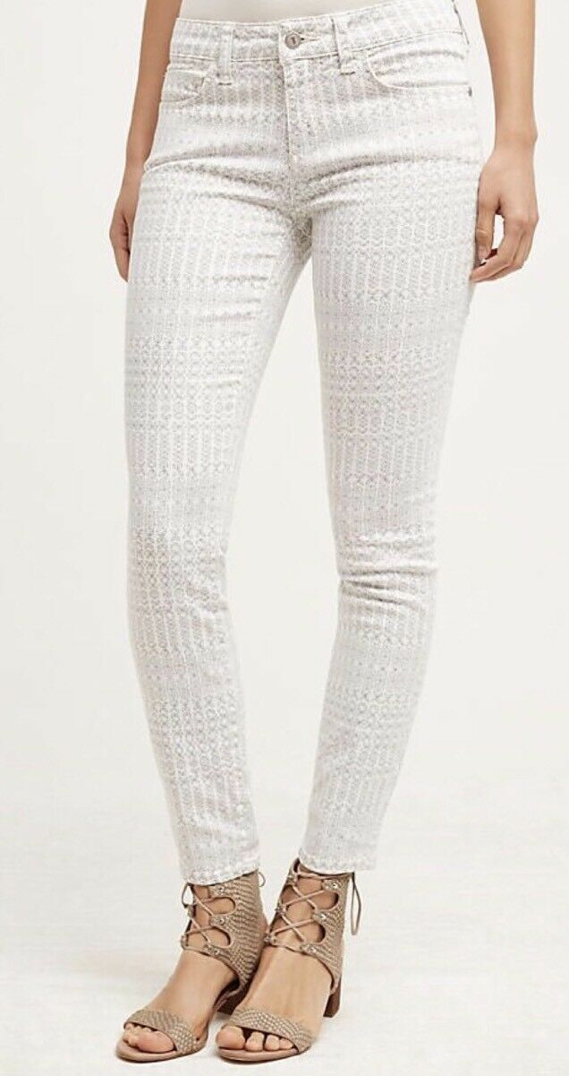 New Anthropologie Pilcro Mgoldcco Print White Floral Slim Jeans Size 27