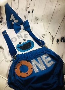 Details About Baby Boy First 1st Birthday Cake Smash Cookie Monster Inspired Photoshoot Outfit