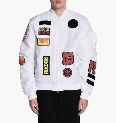 {BR7149} Men's Adidas Originals Logo Padded Patch Bomber Jacket In White *NEW* | eBay