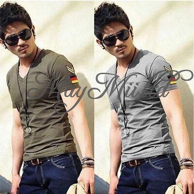 Men's Fashion Military Designer Slim Sexy Tops V-neck Casual T-Shirts N
