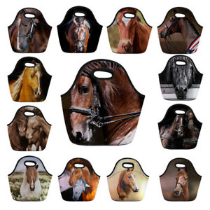 Horse-Print-Lunch-Bags-for-Women-Kids-Portable-Picnic-Tote-Handbag-School-Bags