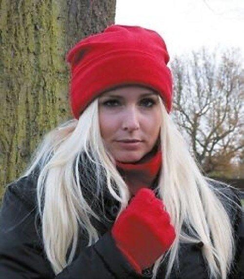 3 PCS Gift Set Red Makeup Gloves halswaermer Antipilling Fleece 41691