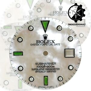 Custom-SS-White-MOP-Diamond-Emerald-To-Fit-Submariner-16800-16610-116610