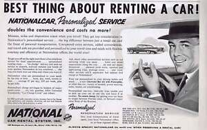 Details About 1957 National Car Rental Service Original Print Ad