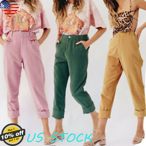 Vogue-Women-Ladies-High-Waist-Long-Pants-Corduroy-Skinny-Casual-Slim-Fit-Trouser