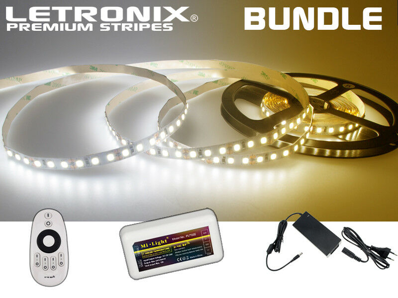 Letronix premium milight bundle 5m LED tiras cct 600 LEDs ip20 FB